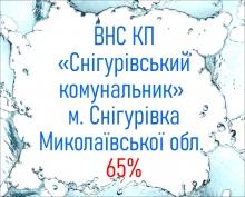 ВНС КП «Снігурівський комунальник» м. Снігурівка Миколаївської обл.  65%